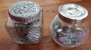 Glass jar to store loose coins
