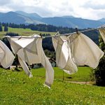 Clothes drying under the windy sun