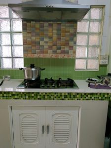 Kitchen storage using brick, cement and tiles